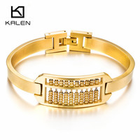 Kalen Vintage Indian Gold Color Abacus Charm Bracelet Bangle For Women Stainless Steel Fashion Design Wristband