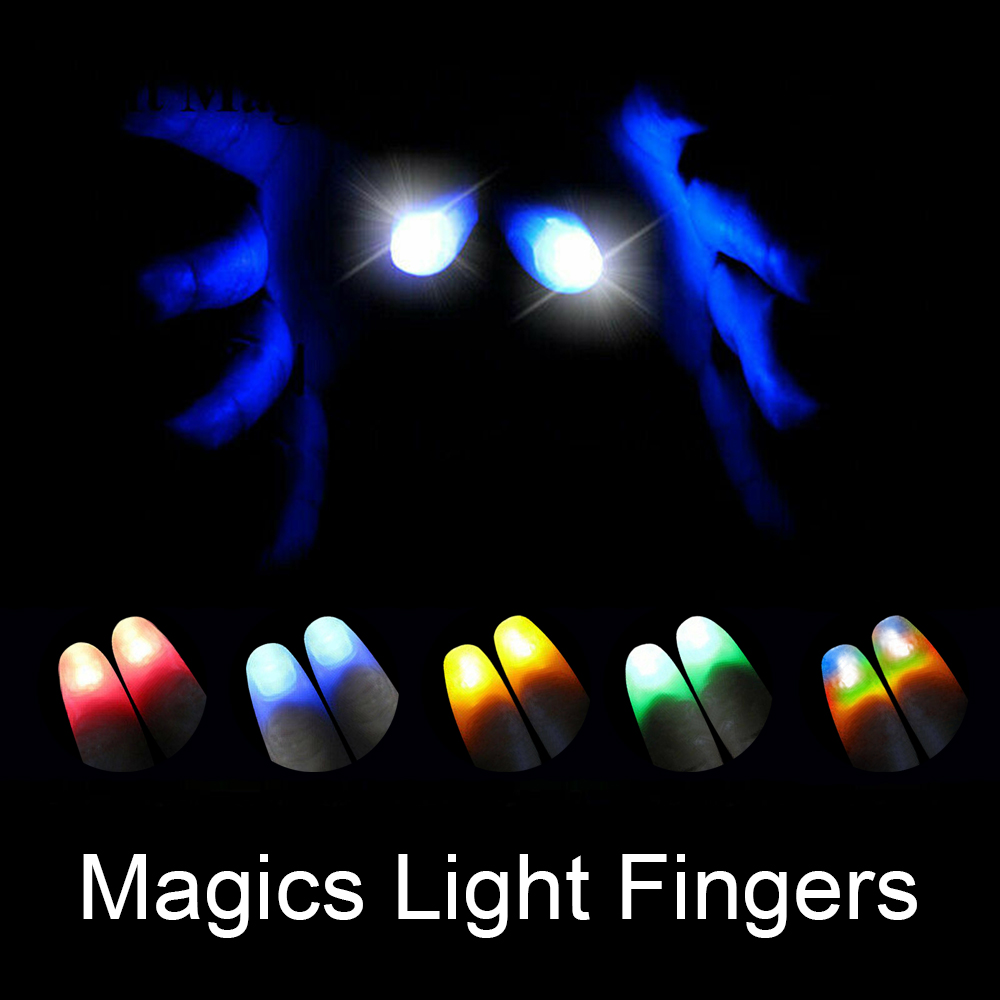 1Pair Magic Thumbs Light Up Fake Thumb LED Luminous Toys Thumb Trick Creative Magic Makers Funny Magics Learning Wholesale