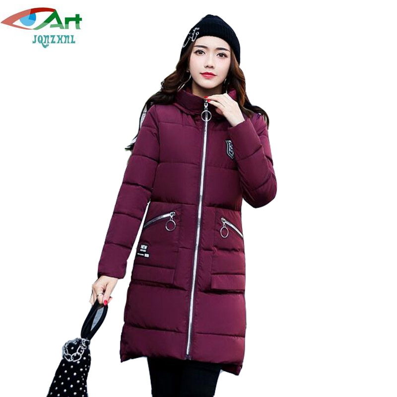 2017 New Women Parkas Medium Long Hooded Thicken Down Cotton Coats Fashion Winter Slim Warm Cotton Coats Outerwear E444 JQNZHNL winter women parkas solid color mid long section large size thicken down cotton jackets fashion hooded slim cotton coats ly0254
