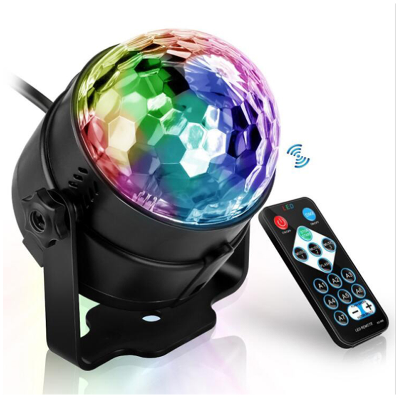 Sound Activated Rotating Disco Ball Party Lights Strobe Light 3W RGB LED Stage Lights For Christmas Home KTV Xmas Wedding Show