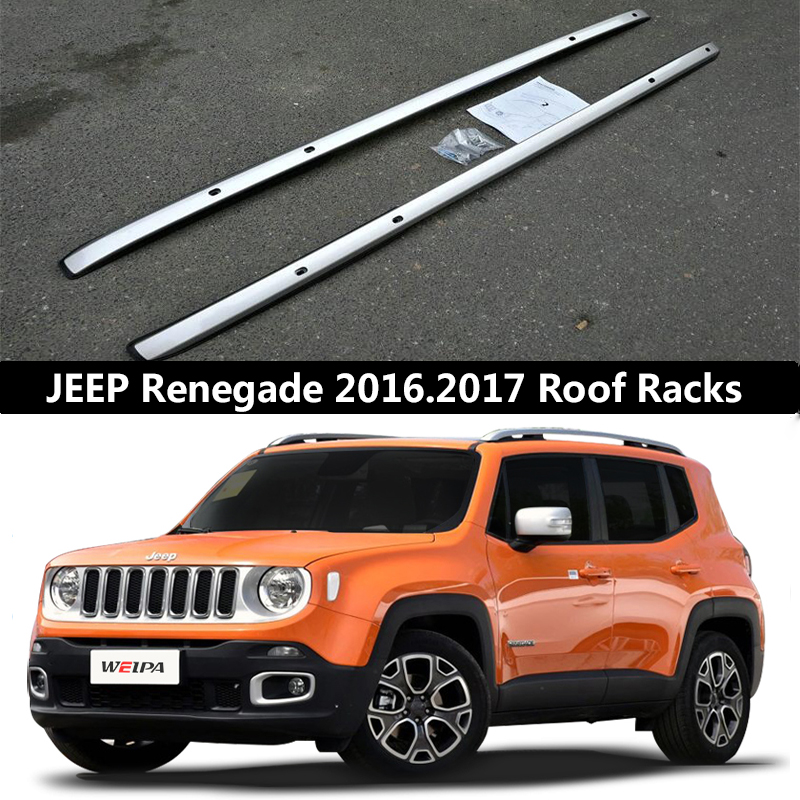 Pour JEEP Renegade 2016 2017 Toit Rack Rails Bar Porte-Bagages Bars top Croix Racks Rail Boîtes En alliage D'aluminium Vis fixation OEM