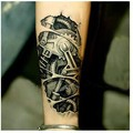 2pcs 3D mechanical arm fastening nut tattoo sticker for men arm hand body warterproof Temporary Tattoo tatuagem