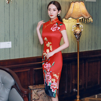 2019 Knee Length Cheongsam Traditional Chinese style Short Sleeve Dress Womens Summer Rayon Qipao Slim Party Dresses Vestido