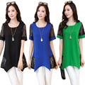 2015 летний стиль плюс размер Blusas femininas женские блузки О-Образным Вырезом patchork кружева блузка женские рубашки топы 02C 30