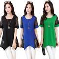 2015 summer style  plus size Blusas femininas women blouses O-neck patchork lace blouse female shirts tops 02C 30