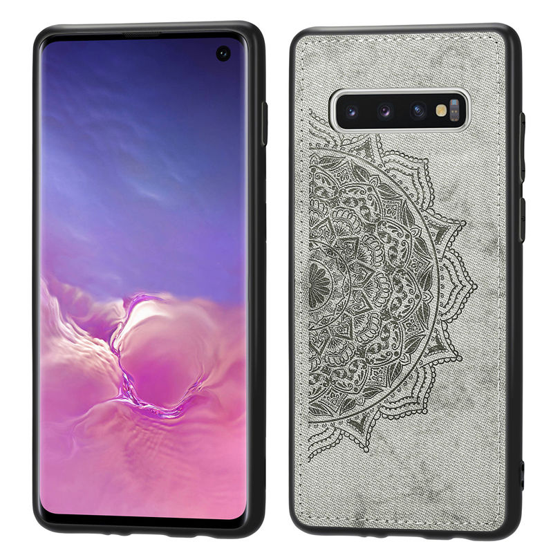 Fabric Case For Samsung Galaxy S10 Plus S10E S9 S8 S7 Edge Cloth Magnetic Car Hold Soft Silicone Frame Back Cover Phone Cases