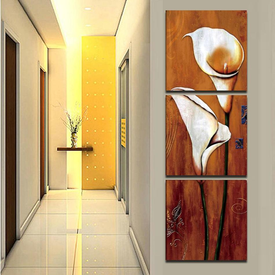 3 panels callas flowers group painting canvas art home decor wall ...