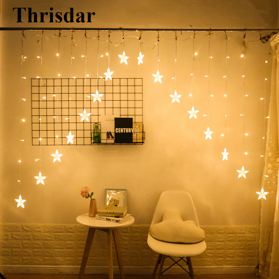 Thrisdar 2.5M 16pcs Star Curtain Icicle Led String Fairy Light Garland Christmas Fairy light for Wedding Home party Xmas Decor