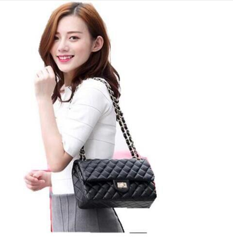 цена на fashion Free shipping EMS Top-Qualit caviar and lambskin bag jumbo flap shoulder bag