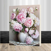 Pink Europe Flower DIY Painting By Numbers Acrylic Paint By Numbers HandPainted Oil Painting On Canvas