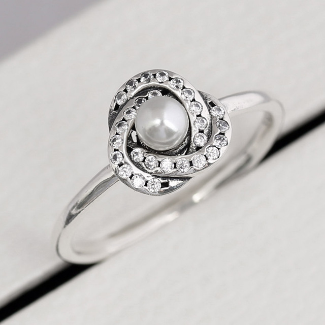 d78254279 Authentic 925 Sterling Silver Ring Luminous Love Knot Ring With Pearl And  Crystal For Women Wedding Gift Fine Europe Jewelry