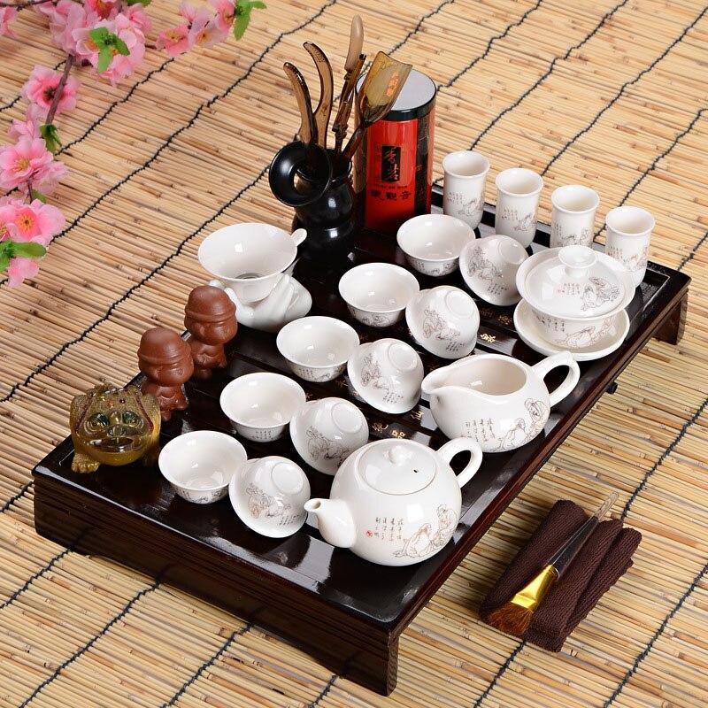 Offres spéciales idée cadeau fête des pères ensemble de thé Kung Fu boisson cérémonie de thé chinois avec Table à thé sur huit pièces ensemble cadeau haut de gamme - 4