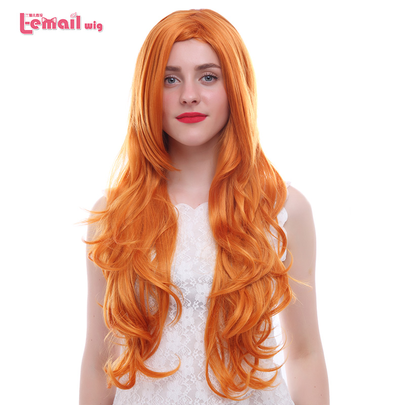 L-email Wig New Women Cosplay Wigs 75cm Long Wavy Orange Heat Resistant Synthetic Hair Perucas Cosplay Wig