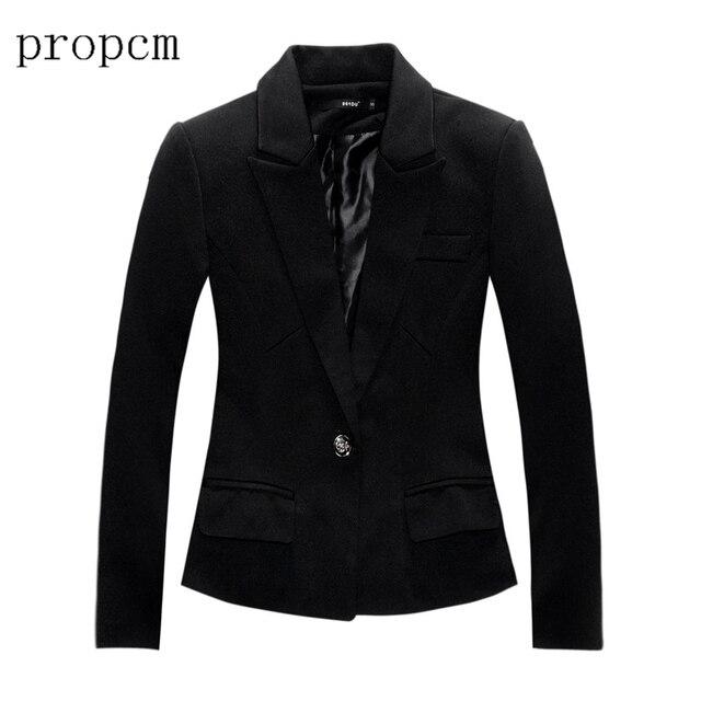 Весна Плюс Размер Пальто Женщин 2017 Новая Мода Женщины Blazer с длинным Рукавом Работа Офис Моды Случайные Черный Костюм Основные Осень куртка
