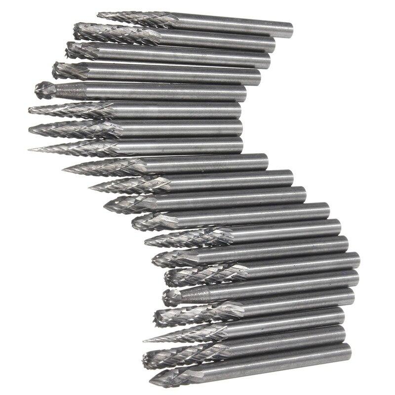 Hot Sale 20Pcs/set 1/8 Inch 3mm Tungsten Carbide Cutter Rotary Burr Set CNC Engraving Bit CED Top Quality  цена и фото