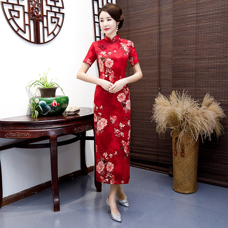PLus Size 5XL Female Satin Long Evening Cheongsam Chinese Women's Qipao Sexy Print Flower Dresses Vintage Button ZAYS518