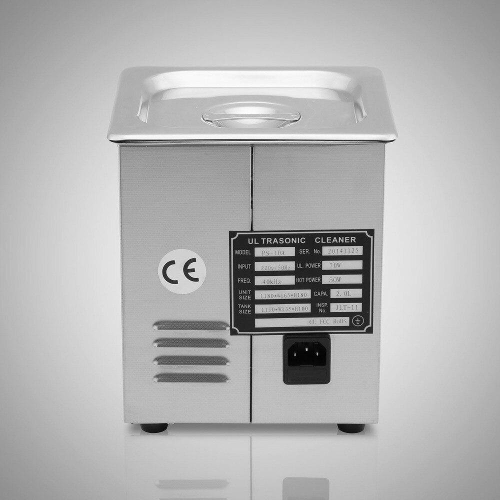 Russie livraison gratuite! 2L nettoyeur à ultrasons réchauffeur minuterie réservoir bain Machine de nettoyage industrie en acier inoxydable équipement - 5
