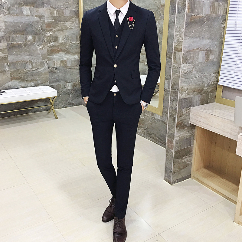 High-end-Herren Anzüge Mode Slim-fit Business Bräutigam Hochzeit Kleid Klassiker Casual Männer Anzug Jacken + Westen + hose