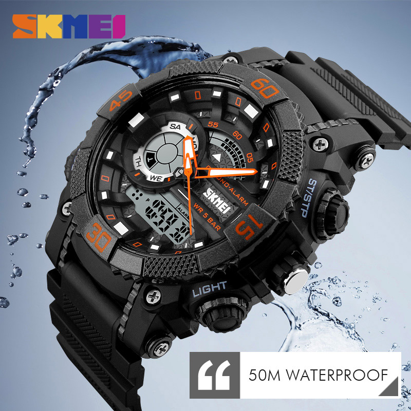 SKMEI Men Sports Watches LED Digital Dual Time Display Wristwatches Chronograph Alarm 50M Waterproof Watch Relogio Masculino