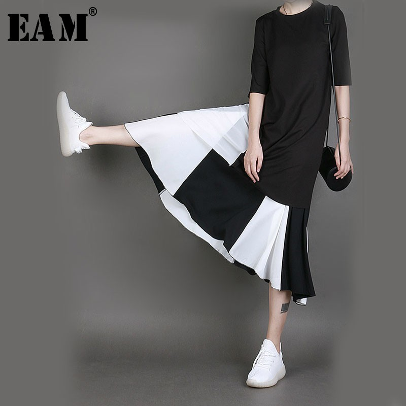 [EAM] 2020 Spring Woman High Elastic Waist Black Hit Color Knee-length Loose Half-body Skirt Fashion Tide All-match JG163