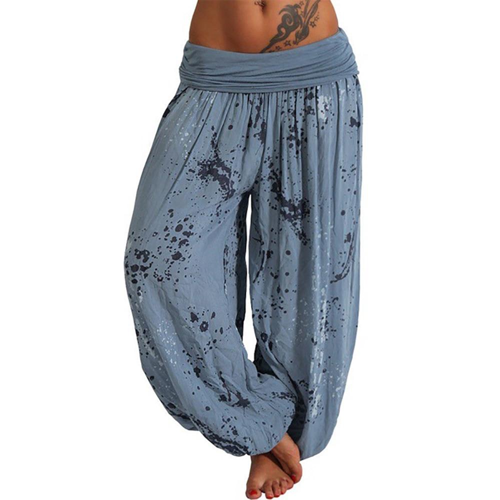 CALOFE New Hot Fashion Womens Casual Print Pant Wide Leg Pants Loose Pocket Floral Harem Pants Wholesale Freeship Plus Size 5XL