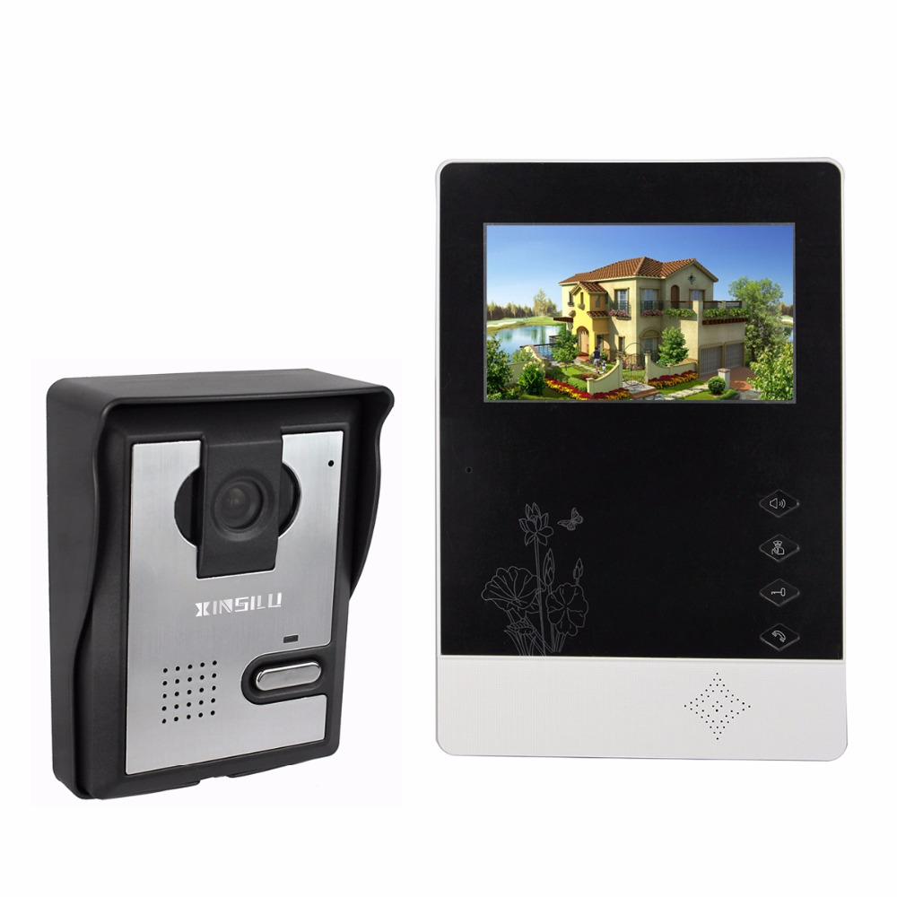 4.3 Color Video Door Phone Video Door bell Intercom Monitor Kit IR Night Vision Camera Doorbell for Apartment Home F4356A door intercom video cam doorbell door bell with 4 inch tft color monitor 1200tvl camera