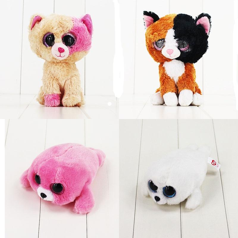 8 20 cm Ty Beanie Boos Big Eyes 6 Kawaii Cat Plush Doll Dolphin Animal Toys