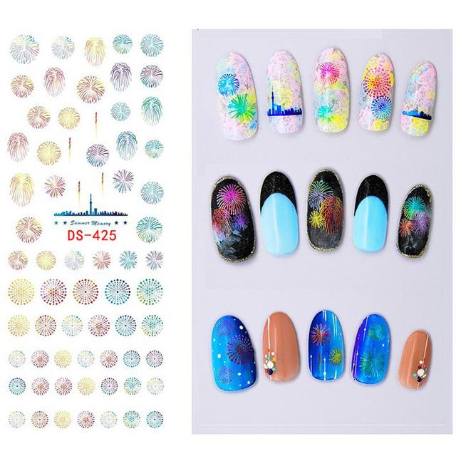 Diy Water Film Paper Transfer Nails Art Sticker Colorful Purple Fantacy Flowers Nail Stickers Wraps Foil
