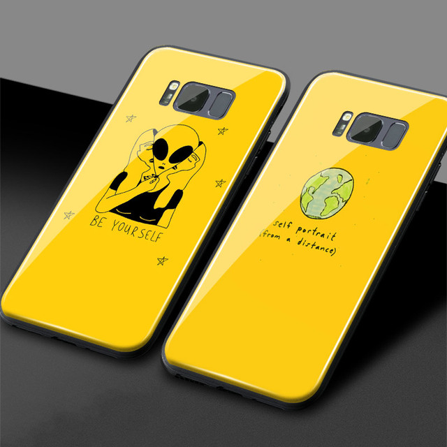 US $4 04 19% OFF|Aesthetic Yellow Art quotes Tempered Glass Soft Silicone  Phone Case Cover For Samsung Galaxy S7 Edge S8 S9 S10 e Plus Note 8 9-in