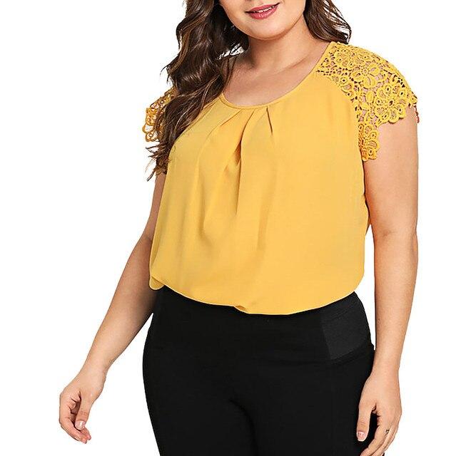 Plus Size Blouse Fashion Women Solid O-Neck Floral Shirt Women Lace Shoulder Shirt Tops Blouse Large Size Loose Tops 2