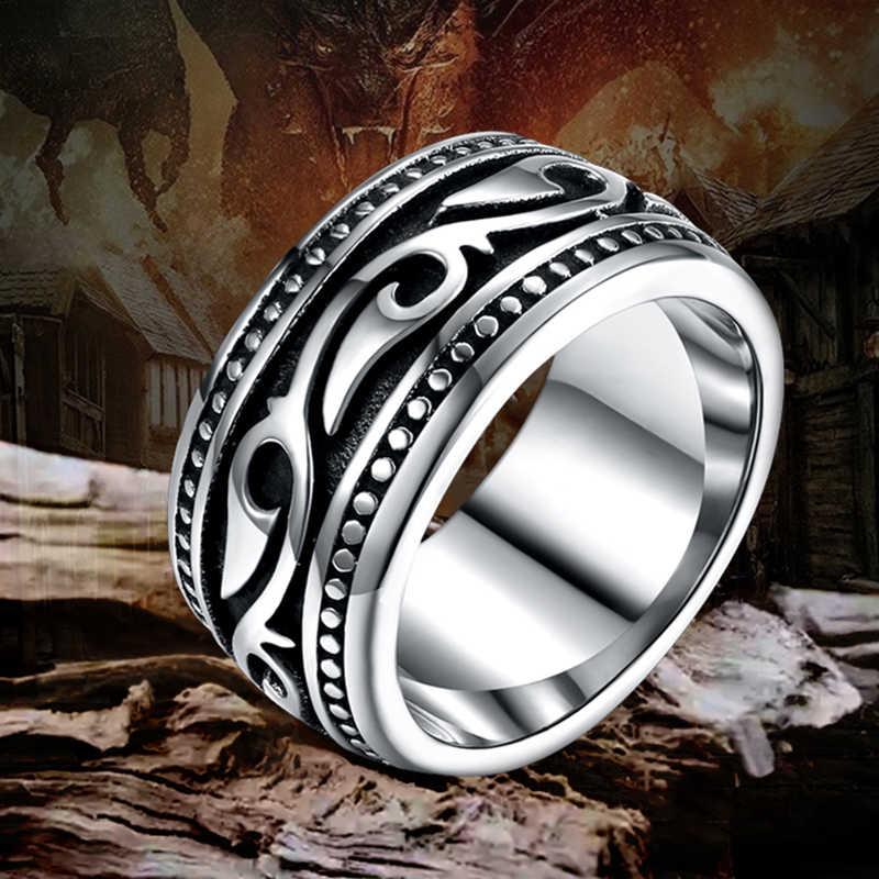 Anel de aço inoxidável de titânio anel masculino geomeric do vintage para homem jóias de casamento prata cor vintage dately anel masculino