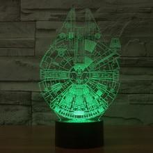 Millennium Falcon Light Star Wars 3D Star Trek Decor Bulbing Lamp Gadget LED Lighting Home Nightlight for Child Gift
