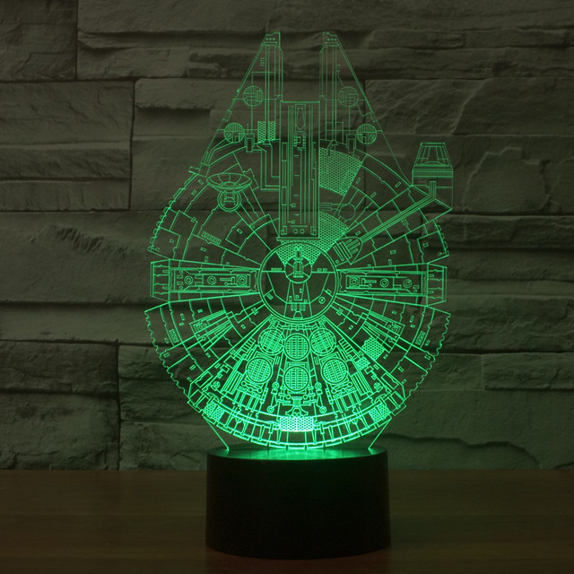 Millennium Falcon Light Star Wars 3D Star Trek Decor Bulbing Lamp Gadget LED Lighting Home Nightlight for Child Gift