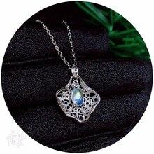 Uloveido натуральный лунный камень подвеска в честь юбилея Цепочки и ожерелья Для женщин 925 пробы серебро цветок с драгоценными камнями Цепочки и ожерелья подвеска для GirlFN295