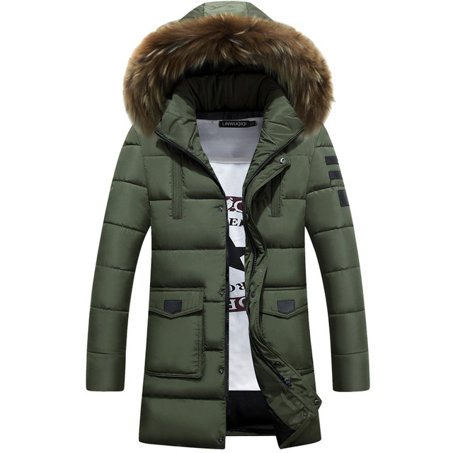 Nieuwe Trend Army Green Parka Mannen Moncler Homme 2017 Winter Jas Mannen  Mode Grote Bont Capuchon 459345cbe2c