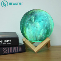 3D Print Moon Lamp Night Light Colorful Galaxy Moon Light Touch Switch USB for Home Bookcase Decoration Children Creative Gift