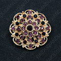 Hot Selling Assorted Color Crystal Rhinestones Flower Brooch Pins for Women in Gold Plated