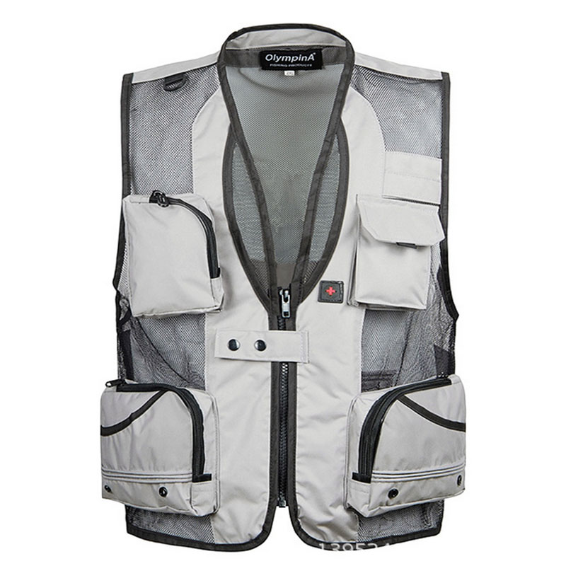 Solid Color Summer Waterproof Vest Casual Breathable mesh Waistcoat Photographer male Sleeveless Jackets vest