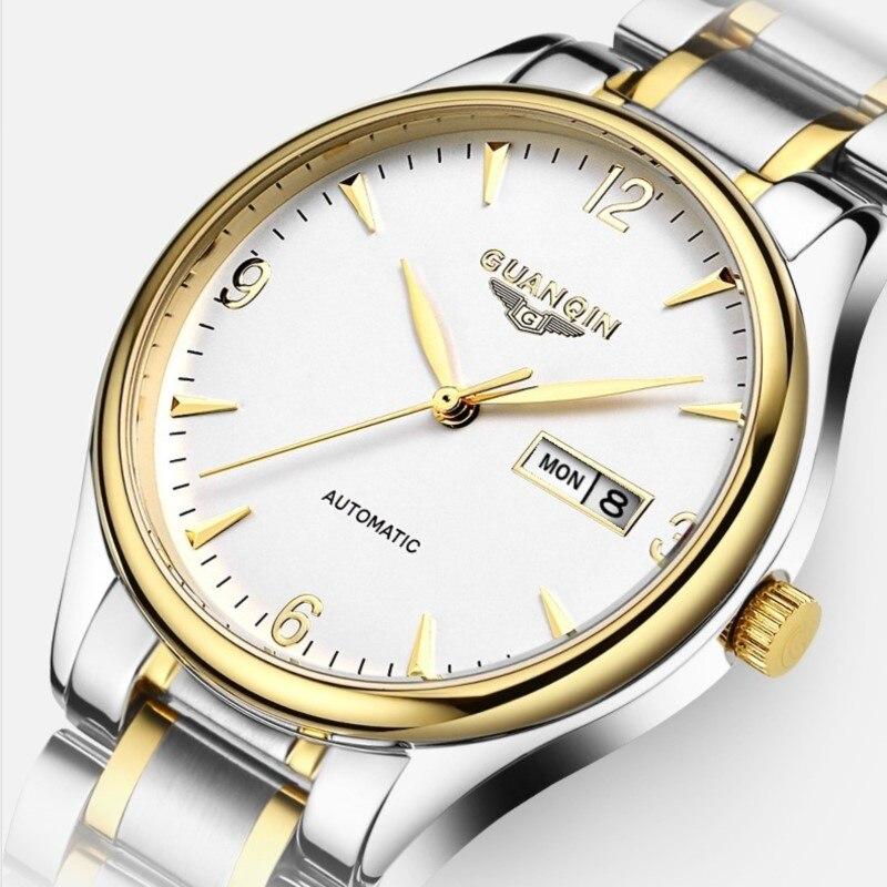 GUANQIN Luxury business men Watch Top Brand Automatic Watch Men Week Calendar Sapphire Waterproof Fashion mechanical