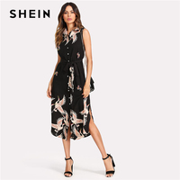 SHEIN Floral Crane Print Button Up Curved Hem Dress Women Sleeveless Belted Chiffon Shirt Dress 2018