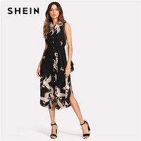 SHEIN Floral Crane Print Button Up Curved Hem Dress Women Sleeveless Belted Chiffon Shirt Dress 2018