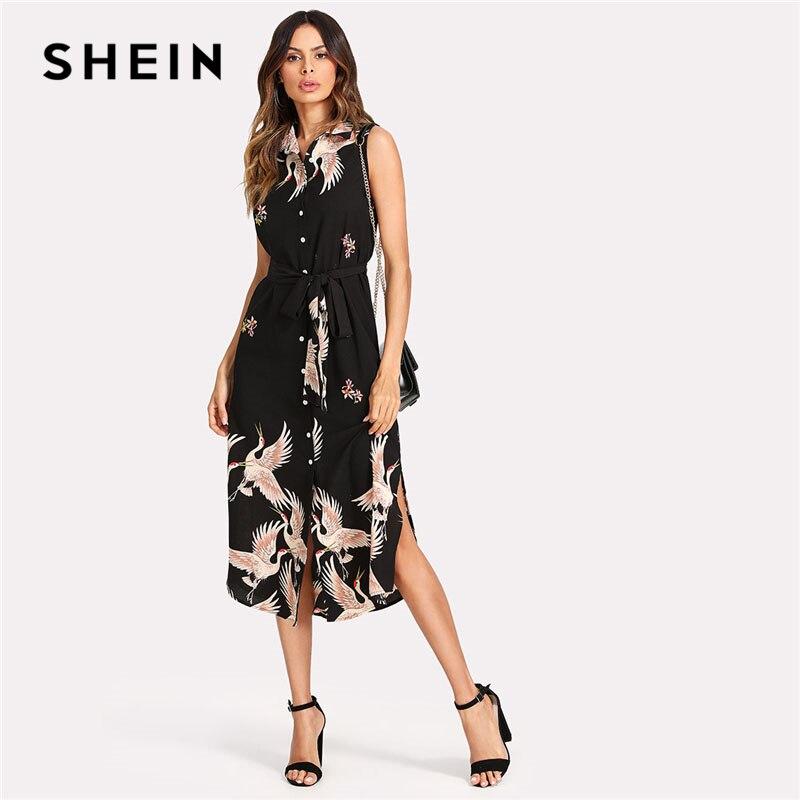 Shein grúa imprimir button up curva hem vestido mujeres sin mangas con cinturón vestido de Camisa de gasa 2018 verano playa Boho vestido