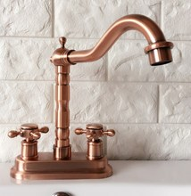 Antique Red Copper Deck Mount Double Handle Bathroom Faucet Vanity Vessel Sinks Mixer Tap Cold And Hot Water Tap zrg044 [haotian vegetarian] antique copper flower shaped handle doorknob antique furniture copper fittings htb 087