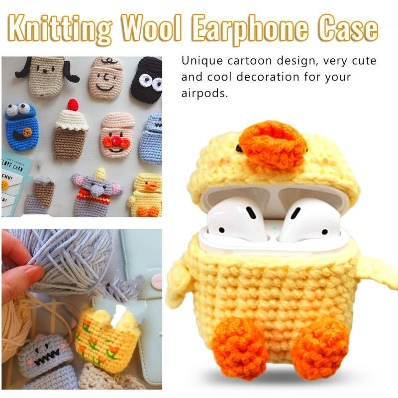 Handmade Protective Knitted Case Skin Sweater Cover Silicone Bluetooth Headset Box Charging Bag Earphone Cover For