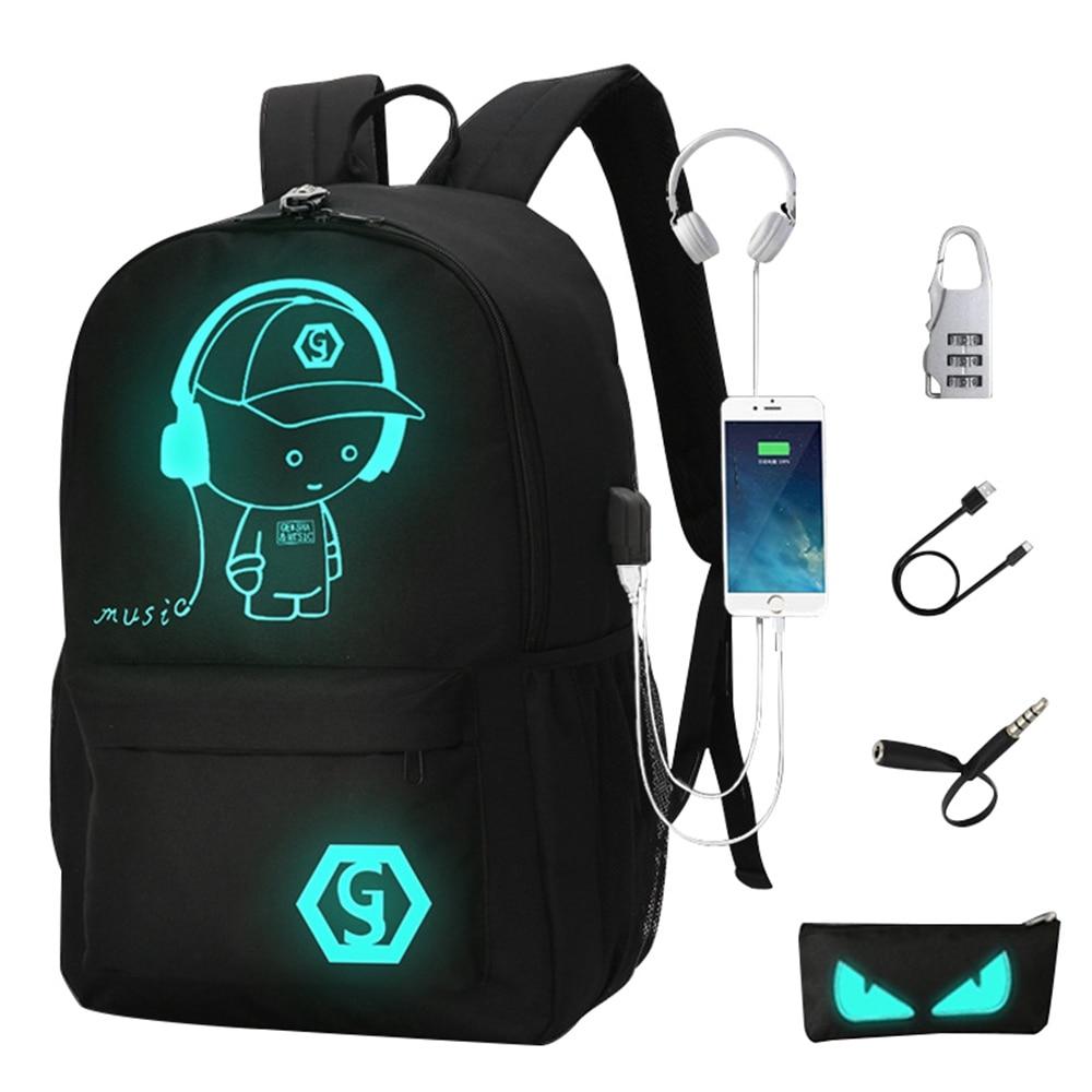 2018 Rucksäcke Student Leucht Animation Schule Taschen Für Junge Mädchen Teenager Usb Ladung Computer Anti-diebstahl Laptop Zurück Pack Reichhaltiges Angebot Und Schnelle Lieferung