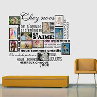 DIY Family Photo Frame Stickers French House Rules S Aime Vinyl Wall Sticker Decals Mural Wall