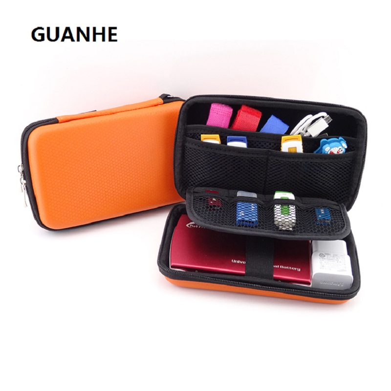 GUANHE NEW 2.5 դյույմ 3 գույներ Խոշոր մալուխի կազմակերպիչ տոպրակ Առանց պահոց HDD USB Flash Drive Հիշողության քարտ Հեռախոսային բանկ 3ds
