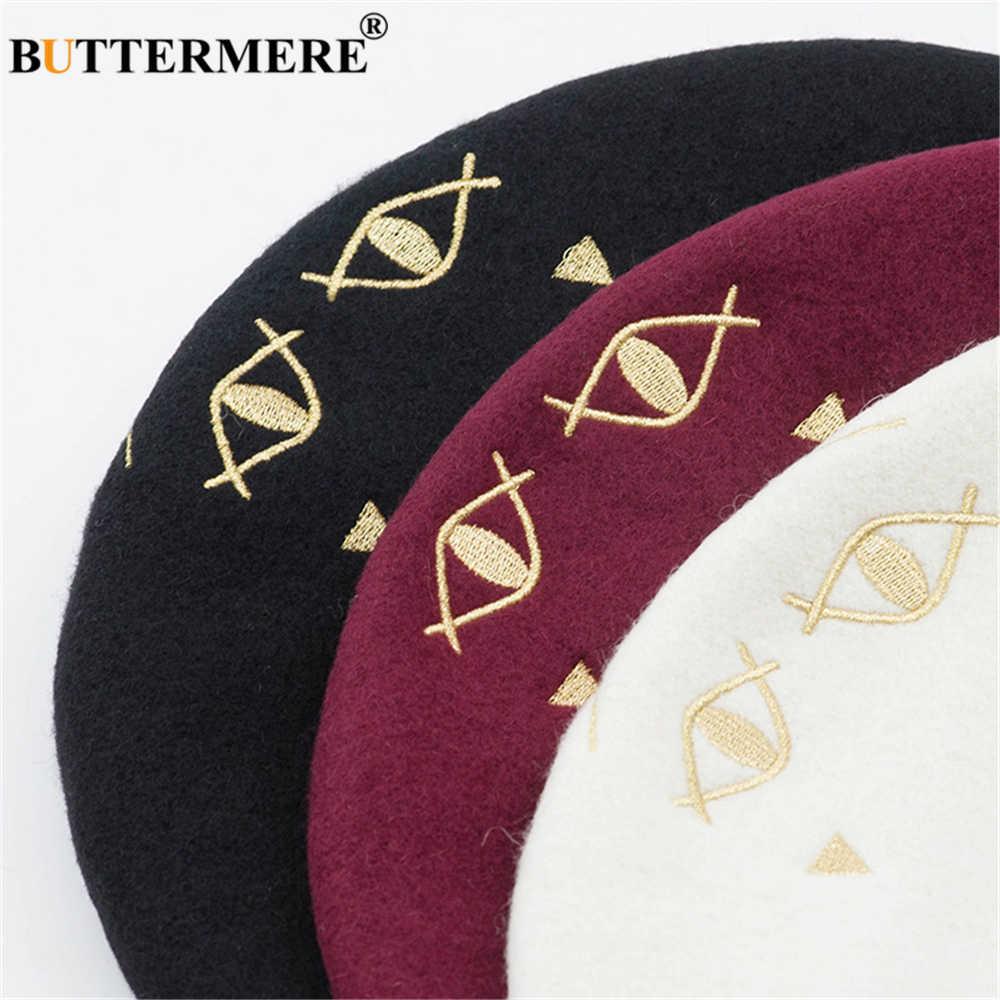 BUTTERMERE женский берет 100% шерсть Кот Вышивка Французский Берет для женщин японский каваи осень зима черный бордовый маляр шляпа