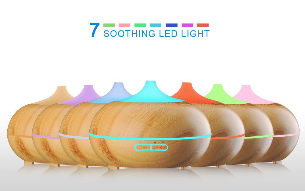 Diffuseur d'huiles essentielles KBAYBO design bois et LED, 7 ambiances lumineuses