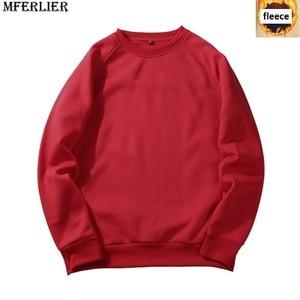 Image 4 - MFERLIER mannen Sweatshirts fleece warm 5XL 6XL grote maat grote herfst effen kleur Sweatshirts katoen trui jas geen hooded zwart